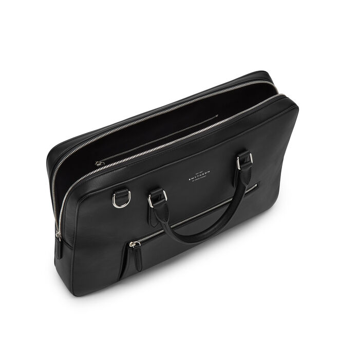 Briefcase with Zip Front in Smooth Leather