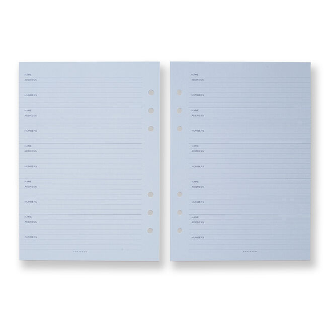 Dukes Organiser Address Refill Pale Blue