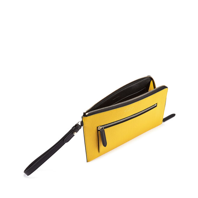 Pochette with Strap in Crossgrain Leather