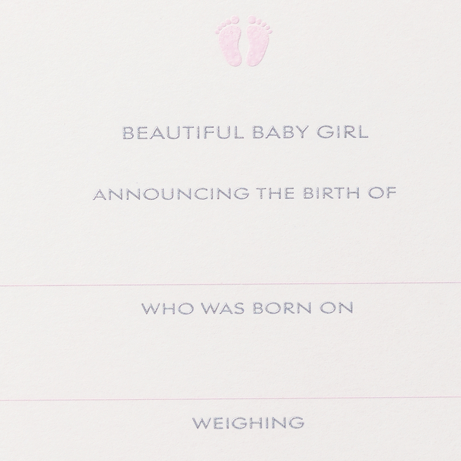 Baby Girl Announcement Cards White