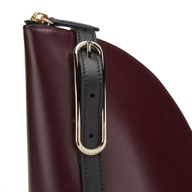 1/4 Moon Crossbody Bag in Box Calf Leather