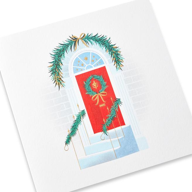 Festive Doorway Christmas Card Set