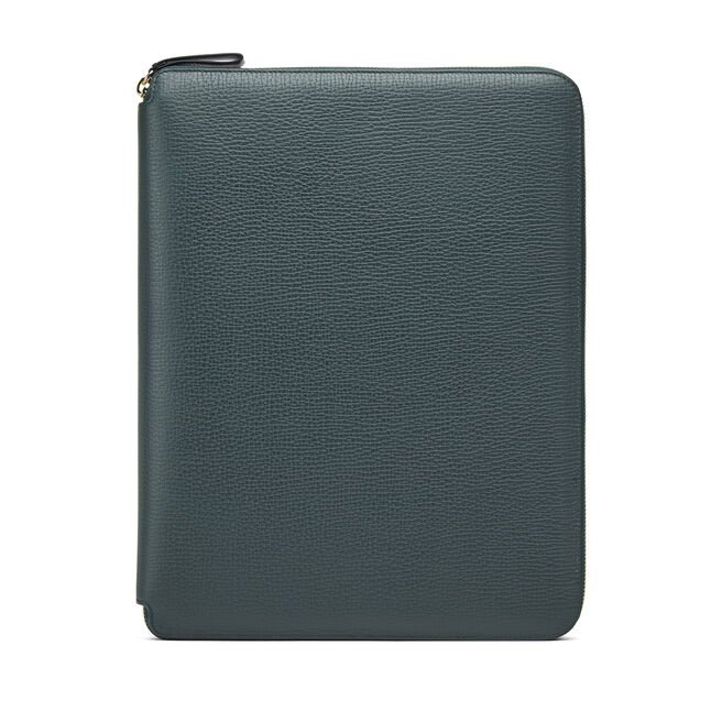 A4 Zip Writing Folder in Large Grain Leather