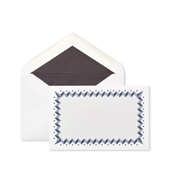 Zigzag Bordered Correspondence Cards Pale Blue