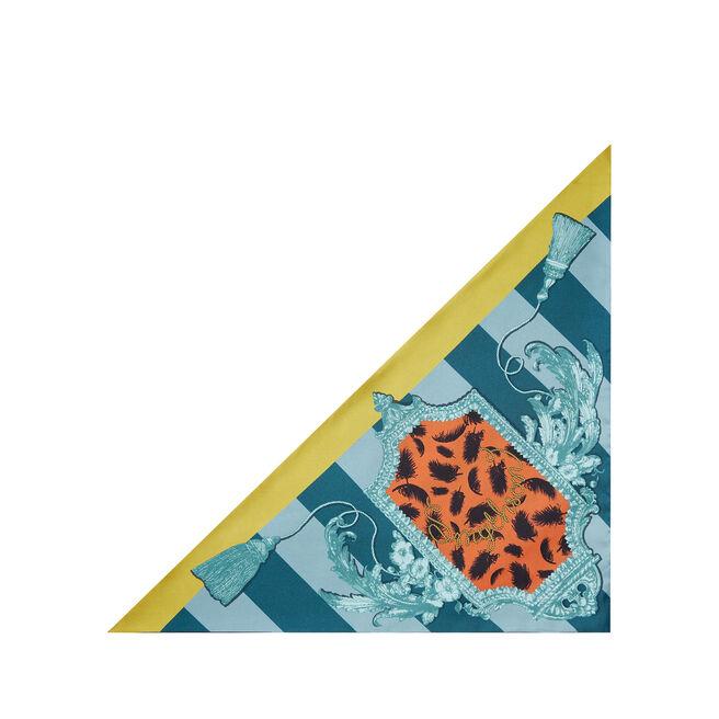 Border Print Small Silk Triangle Scarf