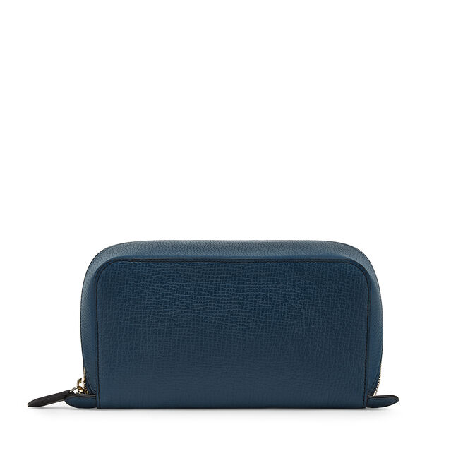 Small Diagonal Zip Washbag in Large Grain Leather