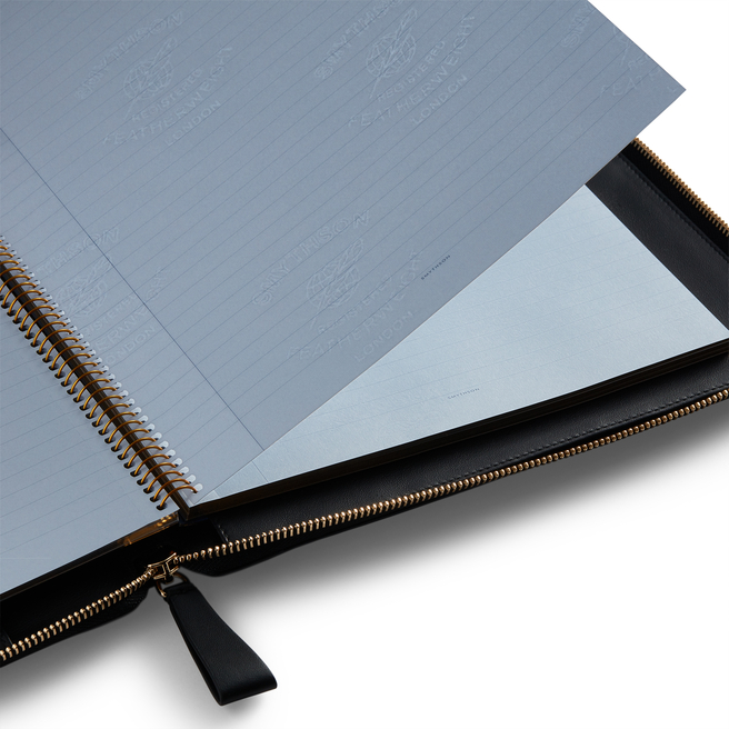 A4 Zip Writing Folder in Smooth Leather