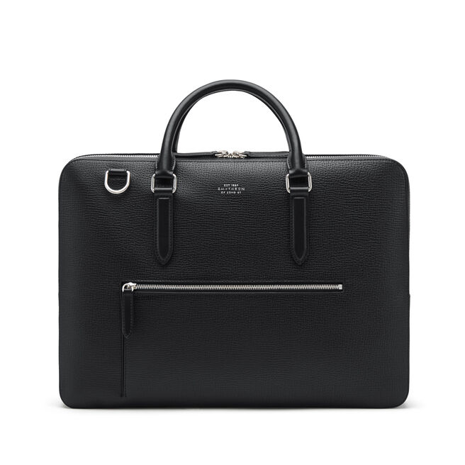 Large Briefcase with Zip Front in Large Grain Leather