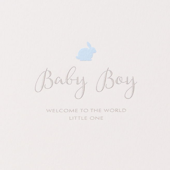 Baby Boy Rabbit Card White