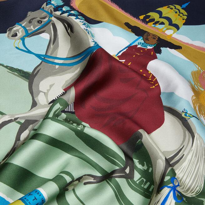 Horse Print Silk Triangle Scarf
