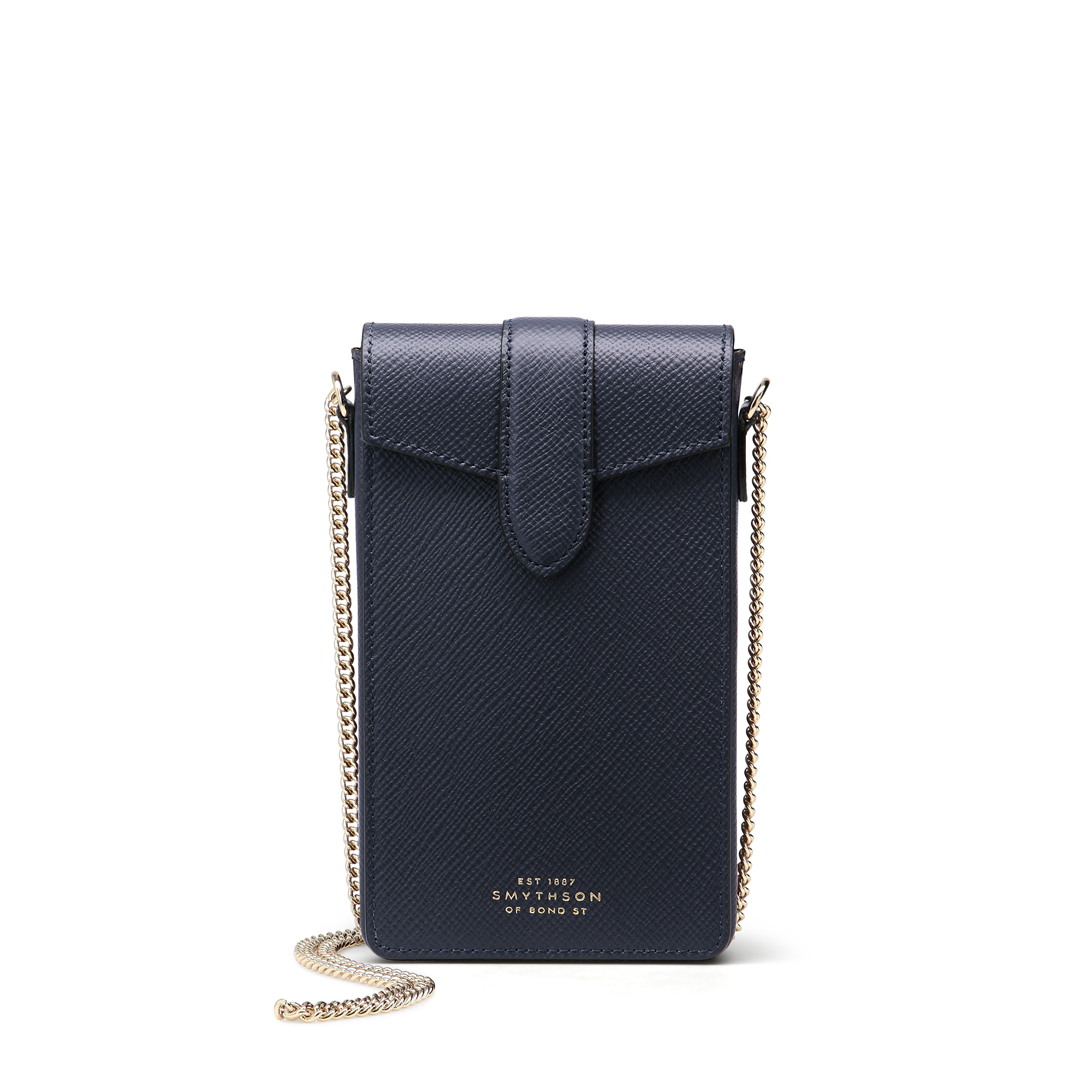Smythson Panama Phone Case On Chain In Navy